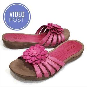 Array Pink Leather Large Floral Slides, 8.5N